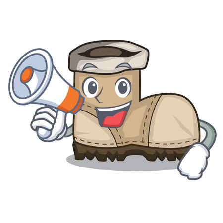 With megaphone working boots Isolated on the mascot vector illustration Vectores