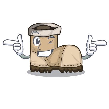 Wink working boot in shape cartoon beautiful vector illustration Çizim