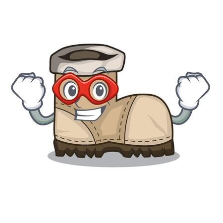 Super hero working boot in shape cartoon beautiful vector illustration