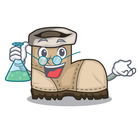 Professor working boot in shape cartoon beautiful vector illustration Çizim
