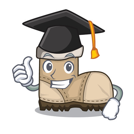 Graduation working boot in shape cartoon beautiful vector illustration