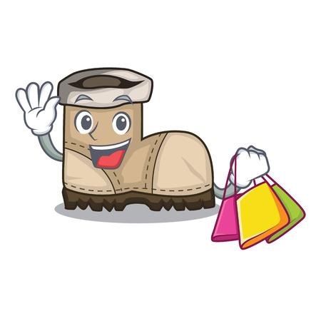 Einkaufen Arbeitsstiefel in Form Cartoon schöne Vektor-Illustration