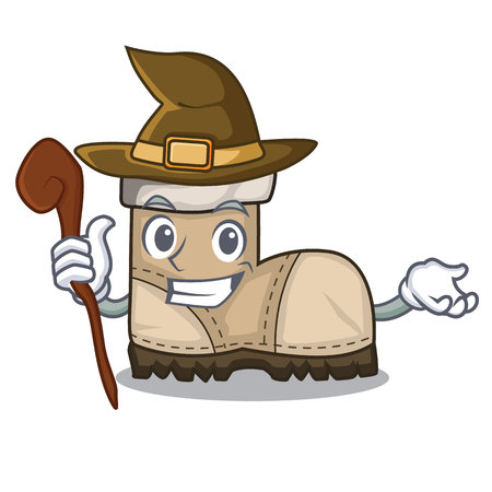 Witch working boot above a character vector illustration