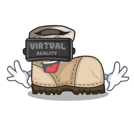 Virtual reality working boot above a character vector illustration