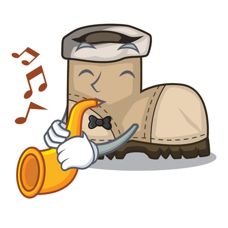 With trumpet working boot above a character Illustration