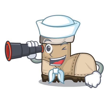 Sailor with binocular working boot above a character