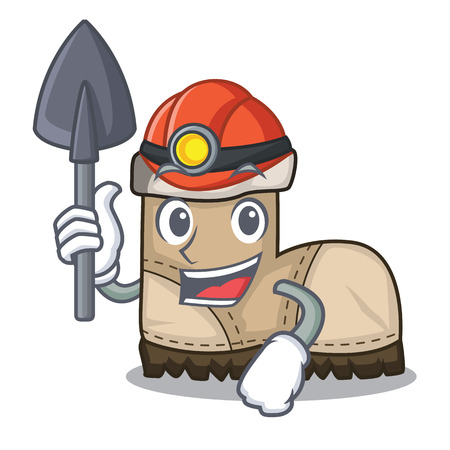 Miner working boot above a character