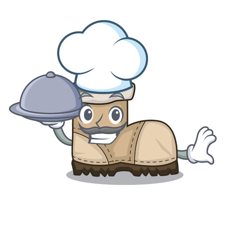Chef with food working boot above a character