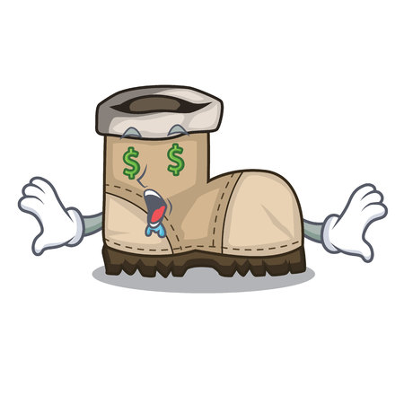 Money eye pair working boots in shape cartoon
