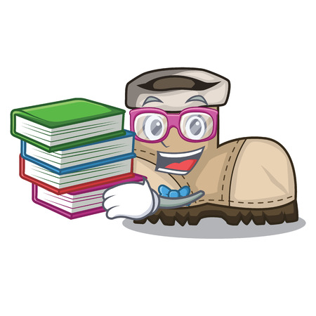 Student with book pair working boots in shape cartoon