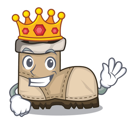 King pair working boots in shape cartoon Illustration