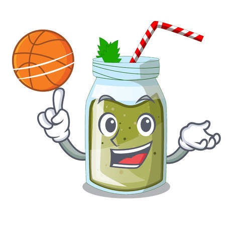 With basketball green juice smoothe in cartoon glass