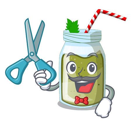 Barber green juice smoothe in cartoon glass