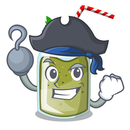 Pirate green juice smoothe in cartoon glass