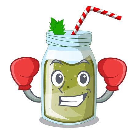 Boxing green juice smoothe in cartoon glas