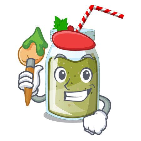Artist green juice smoothe in cartoon glas Stock Illustratie