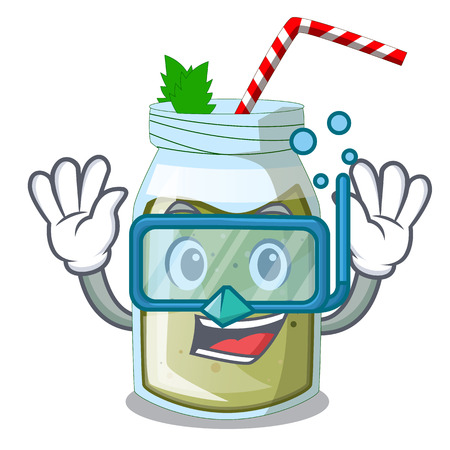 Diving juice smoothies green in cartoon table