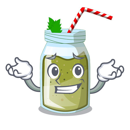 Grinning juice smoothies green in cartoon table Illustration