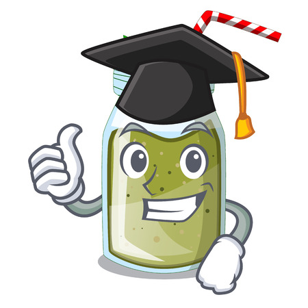 Graduation juice smoothies green in cartoon table Stock Illustratie