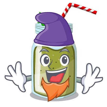 Elf green juice smoothe in cartoon glas Stock Illustratie