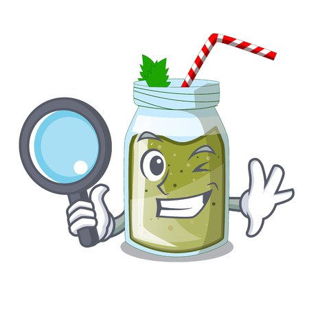 Detective juice smoothies green in cartoon table Illusztráció
