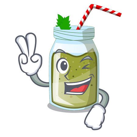 Two finger juice smoothies green in cartoon table Illustration
