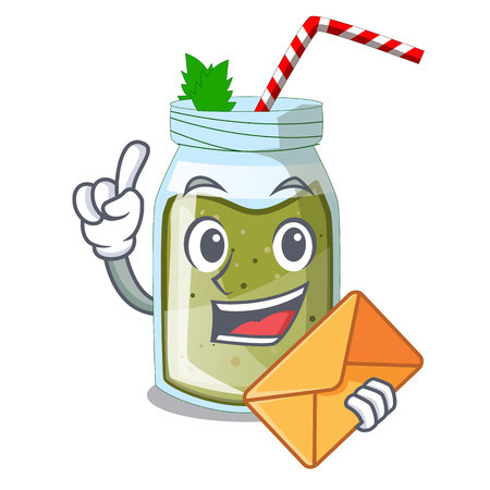 With envelope juice smoothies green in cartoon table Stock Illustratie