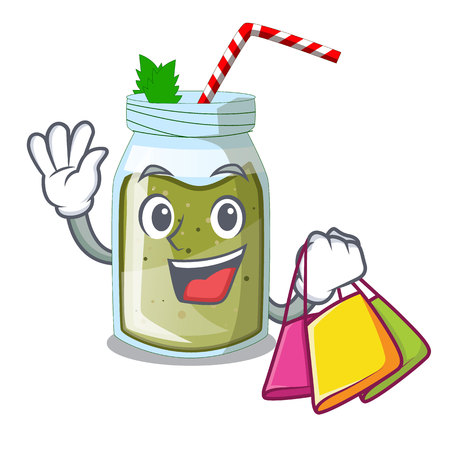Shopping juice smoothies green in cartoon table