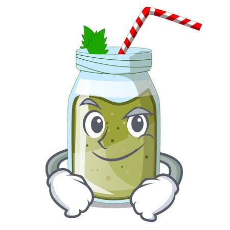 Smirking juice smoothies green in cartoon table
