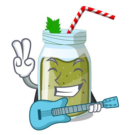 With guitar juice green smoothie on character cup