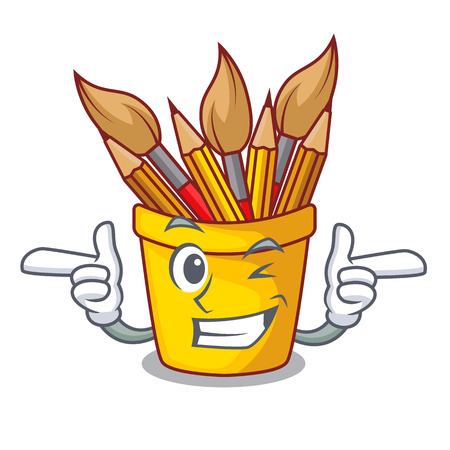 Wink character pot pencil above wood table vector illustration Illustration