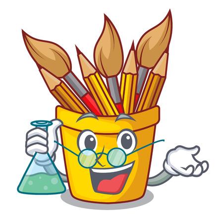 Professor character pot pencil above wood table vector illustration