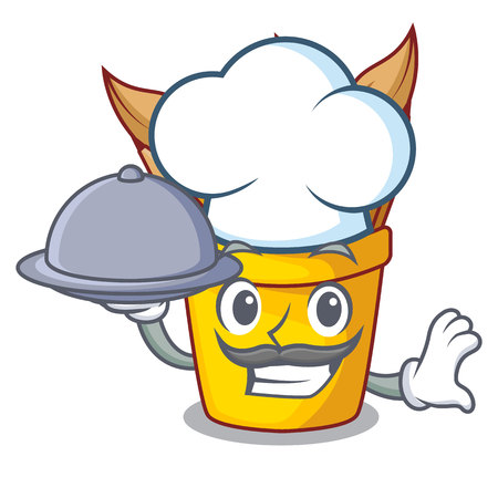Chef with food pot pencil isolated with the mascot vector illustration