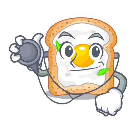 Doctor cartoon eggs sandwich in for breakfast