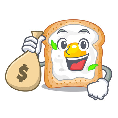 With money bag cartoon eggs sandwich in for breakfast