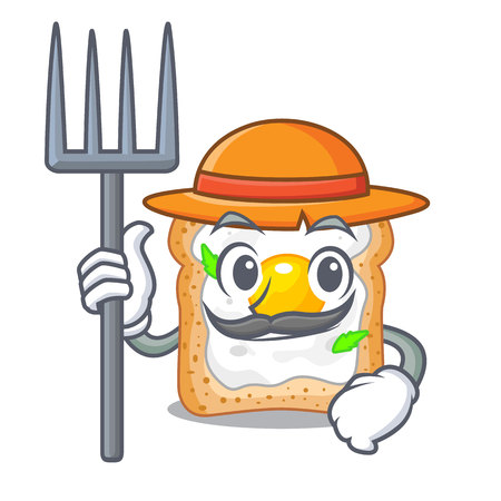 Farmer cartoon eggs sandwich in for breakfast Illustration