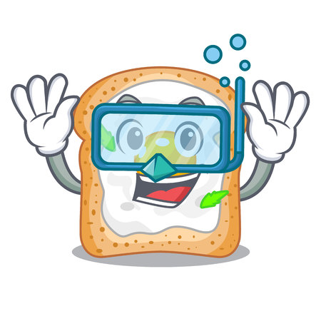 Diving sandwich with shape in egg cartoon vector illustration