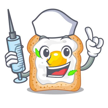 Nurse sandwich with shape in egg cartoon vector illustration