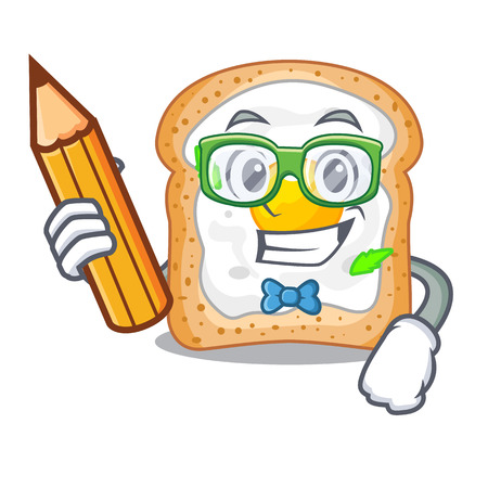 Student sandwich with shape in egg cartoon vector illustration