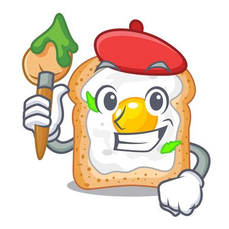 Artist cartoon eggs sandwich in for breakfast