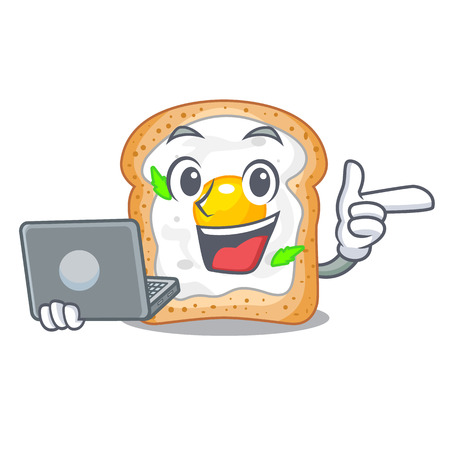 With laptop cartoon eggs sandwich in for breakfast