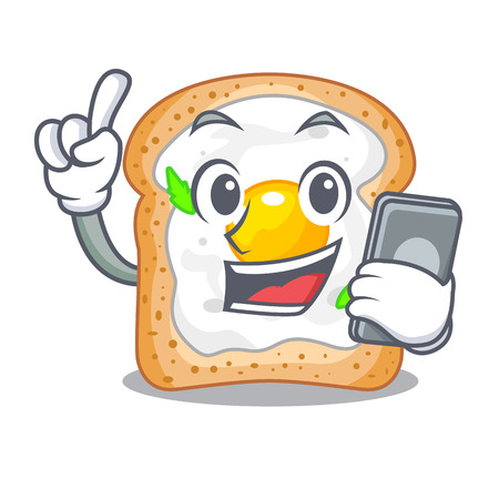 With phone cartoon eggs sandwich in for breakfast Illustration
