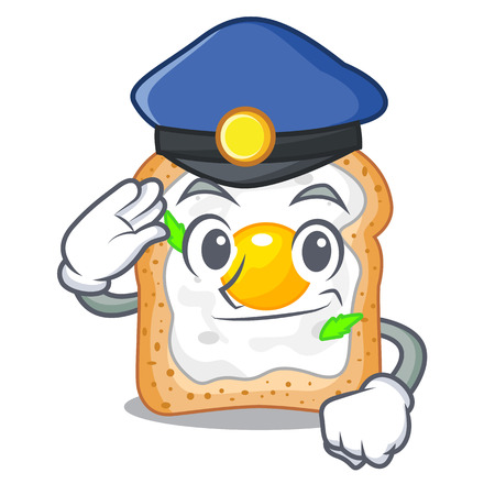 Police cartoon eggs sandwich in for breakfast