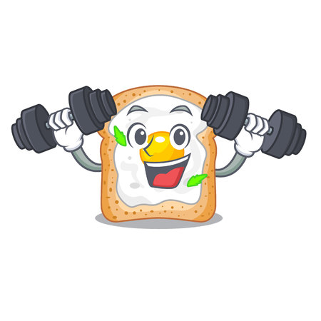 Fitness cartoon eggs sandwich in for breakfast