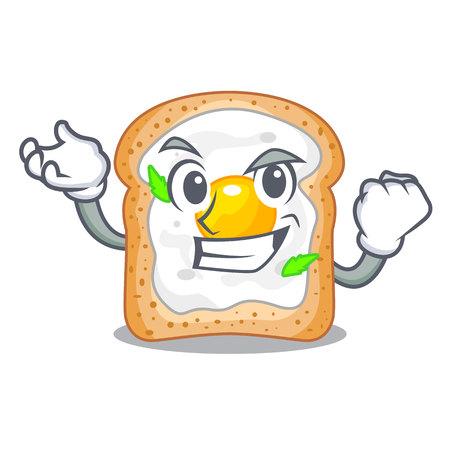 Successful sandwich with shape in egg cartoon vector illustration Illustration