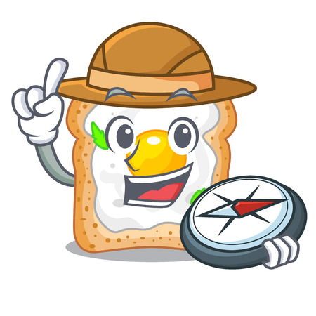 Explorer sandwich with egg above character board vector illustartion