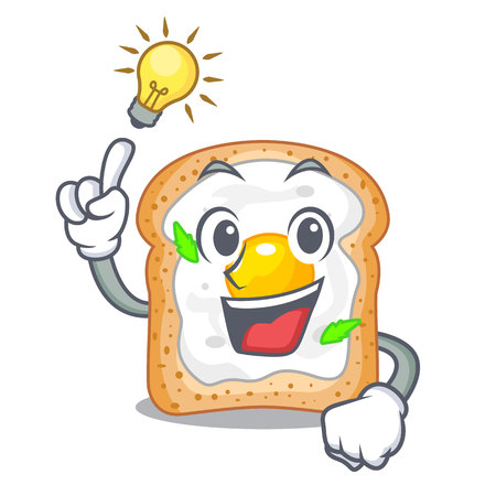 Have an idea sandwich with egg isolated in mascot vector illustartion