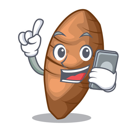 With phone taro tuber in the shape cartoon vector illustration