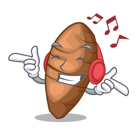 Listening music taro tuber isolated in the mascot