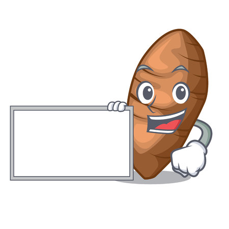 With board taro tuber in the shape cartoon vector illustration